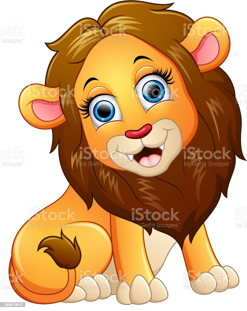 happy lion cartoon sitting stock vector art 585619042 istock