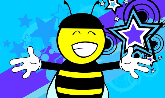happy little bee cartoon expression background
