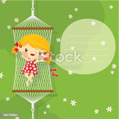 istock happy little blonde girl playful on hammock. Summer, spring minimil 165765841