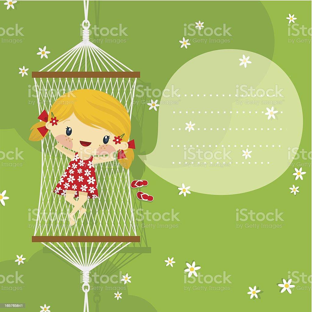 happy little blonde girl playful on hammock. Summer, spring minimil vector art illustration