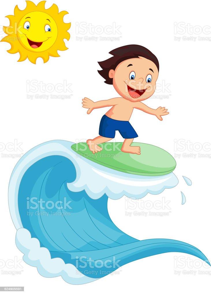 happy little boy cartoon surfing stock vector art more images of rh istockphoto com Surfer Cartoon Characters Surfer Cartoon Characters