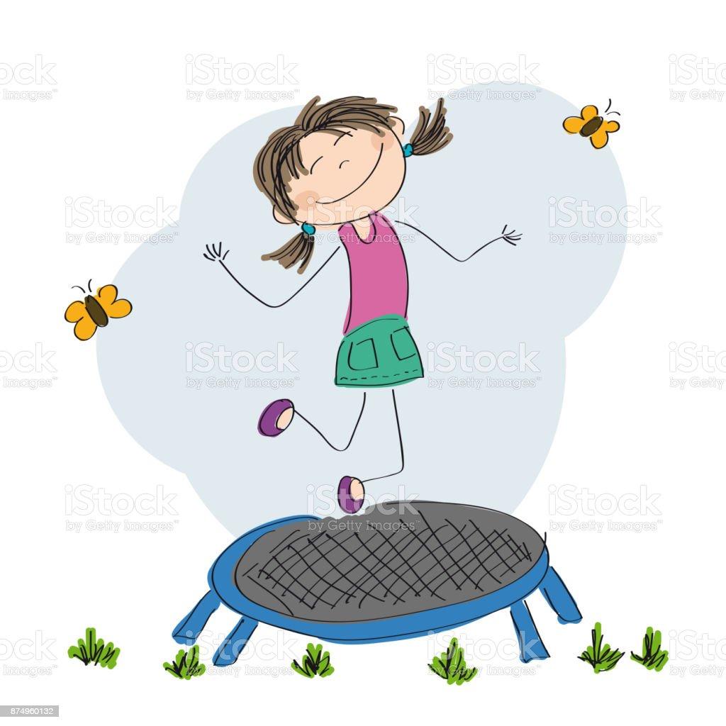 Happy little boy jumping on the trampoline - original hand drawn illustration vector art illustration
