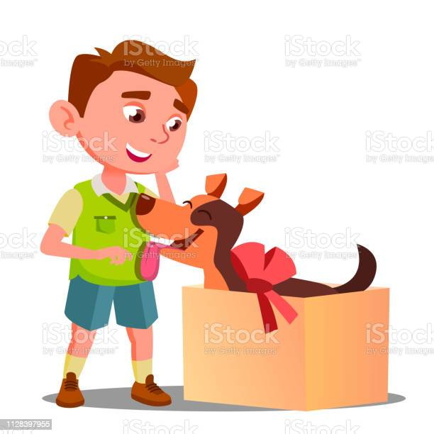 Happy little boy takes out of gift box a dog vector isolated vector id1128397955?b=1&k=6&m=1128397955&s=612x612&h=sb4c3sxxvfnwo5okhywzeoarityssci3vmspa2jwy0o=