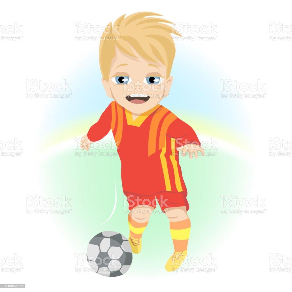Glucklicher Kleiner Junge Mit Ball Spielen Fussball Im Freien