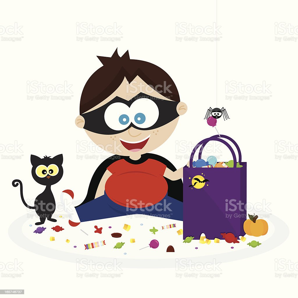 Happy Little Boy with His Halloween Candy! royalty-free happy little boy with his halloween candy stock vector art & more images of animal