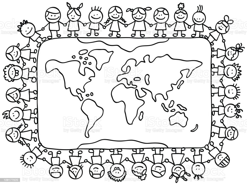 Happy Little Children Holding Hands Around World Map Cartoon Illustration Royalty Free