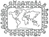 happy little children holding hands around world map cartoon illustration