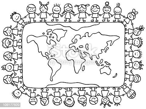 Happy Little Children Holding Hands Around World Map