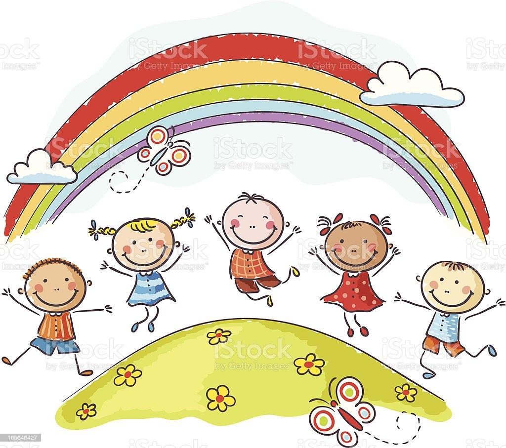 Happy Little Children Jumping on Hill Underneath a Rainbow vector art illustration