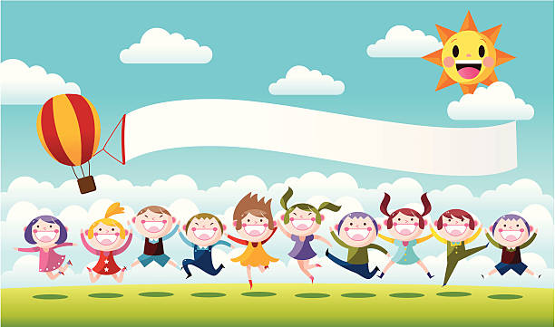 happy little children jumping - cartoon kids stock illustrations, clip art, cartoons, & icons