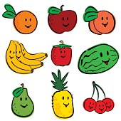 Vector illustrations of fresh happy fruit characters.