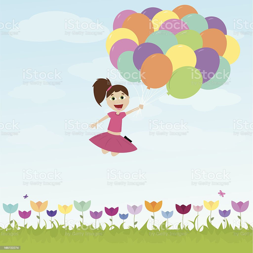 Happy Little Girl Flying Away with Balloons! royalty-free stock vector art