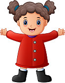 Vector illustration of Happy little girl in red winter clothes