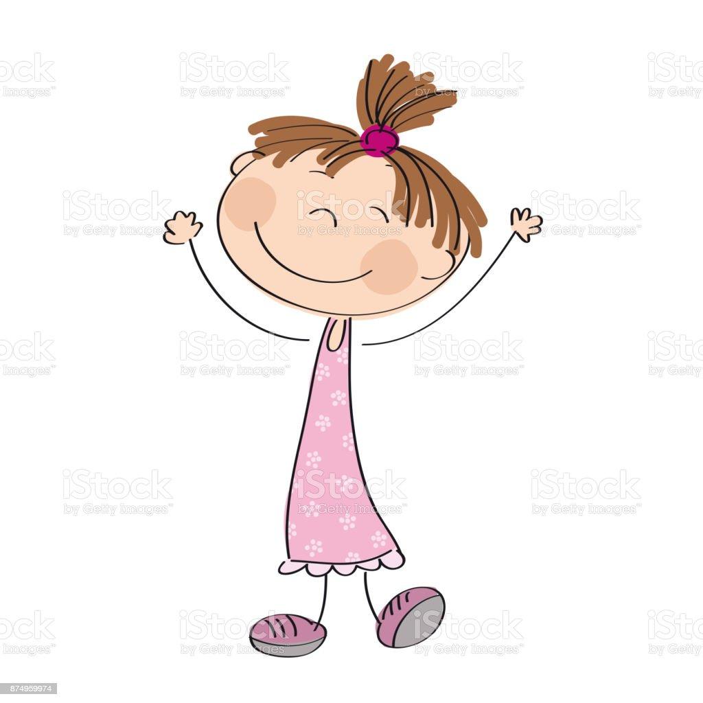 Happy little girl - original hand drawn illustration vector art illustration