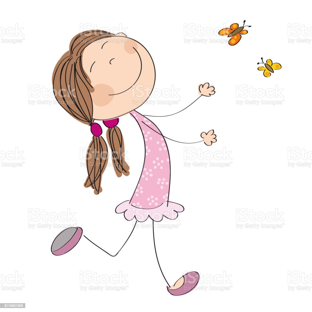 Happy little girl running and catching butterflies - original hand drawn illustration vector art illustration