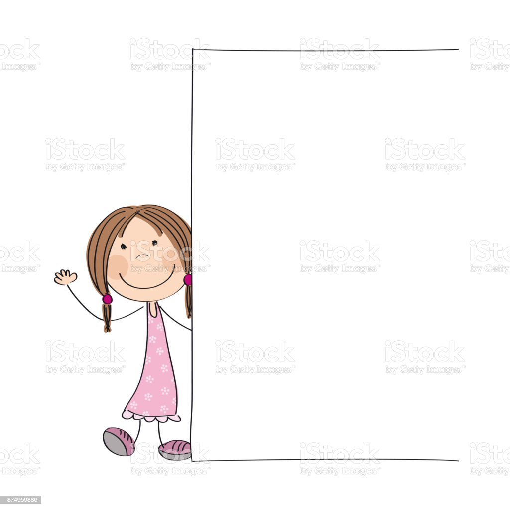 Happy little girl standing behind blank banner / board - copy space for your text on white background - original hand drawn illustration vector art illustration