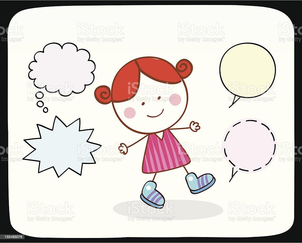Niña Feliz Hablando Con Burbujas De Discurso Ilustración