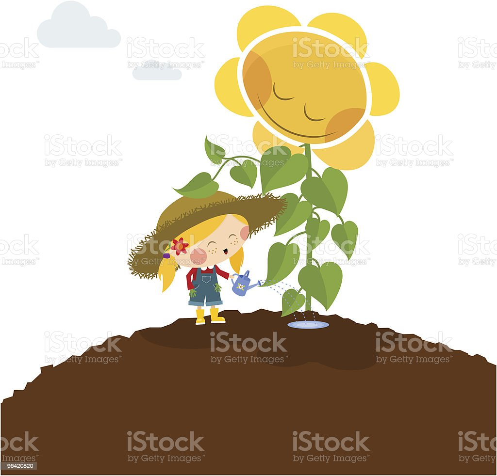 happy little girl with sunflower. Love gardening royalty-free stock vector art