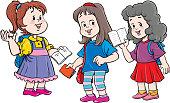 Happy Little girls study together, vector illustration