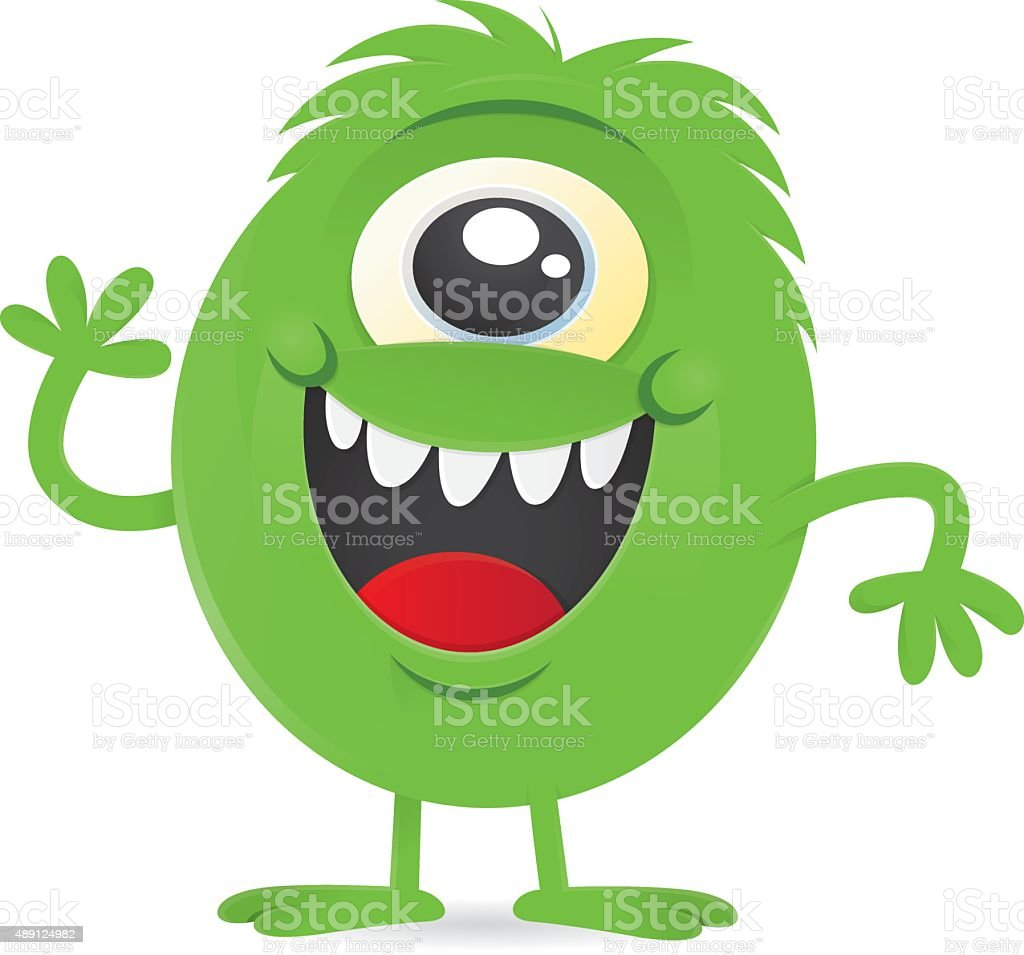 1 Eyed Cartoon Characters : Happy little green oneeyed monster alien character stock