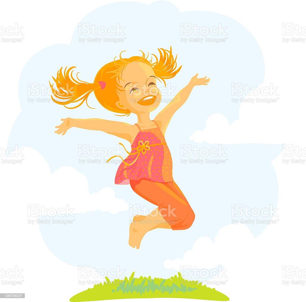 Happy little jumping girl vector art illustration