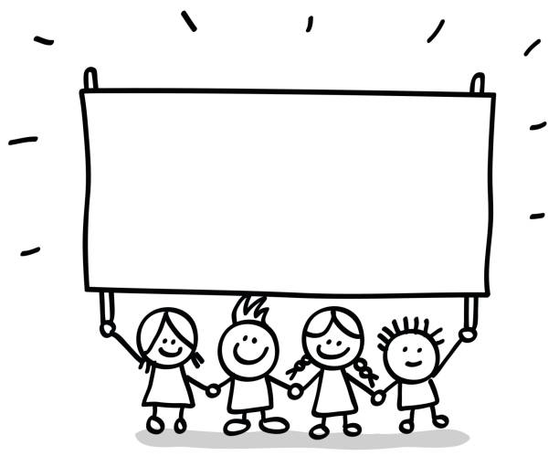 Royalty Free Black And White Kids Holding Hands Drawing ...