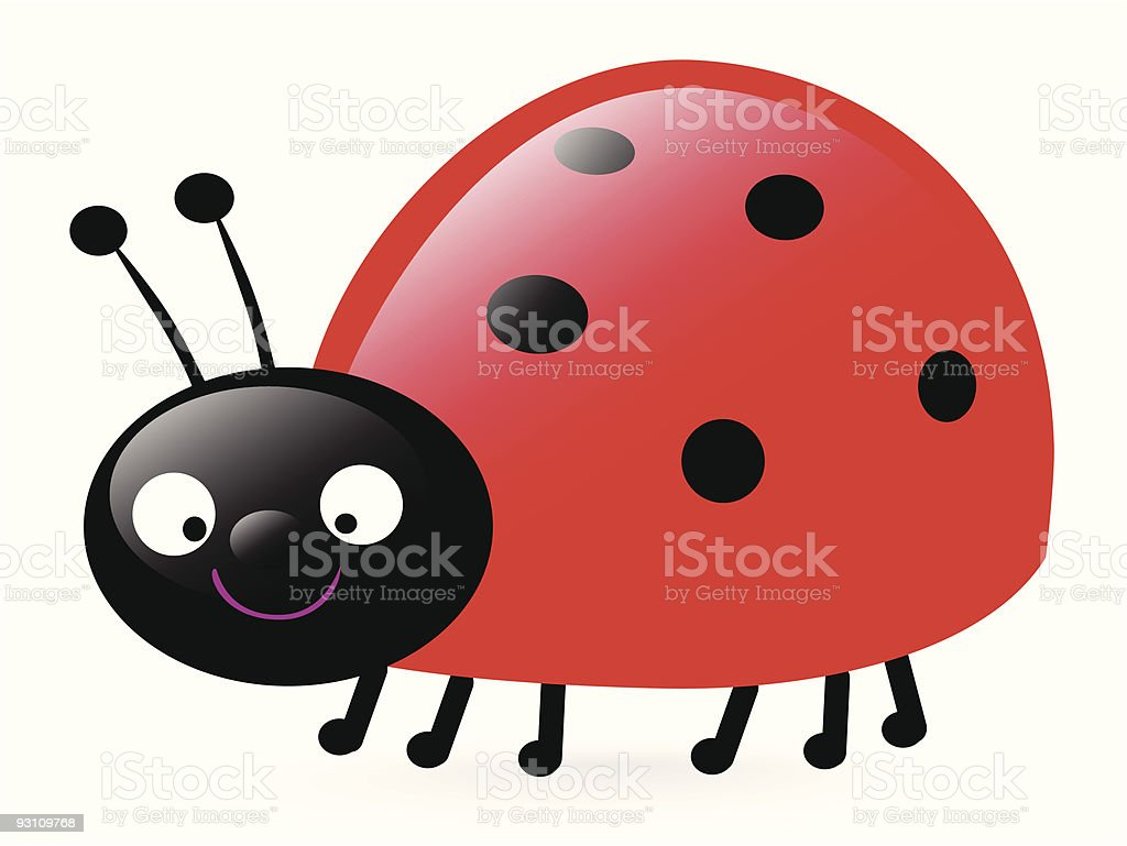 happy little ladybug vector art illustration