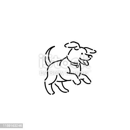 Happy little puppy with collar. Line art style character vector black white sketch isolated illustration