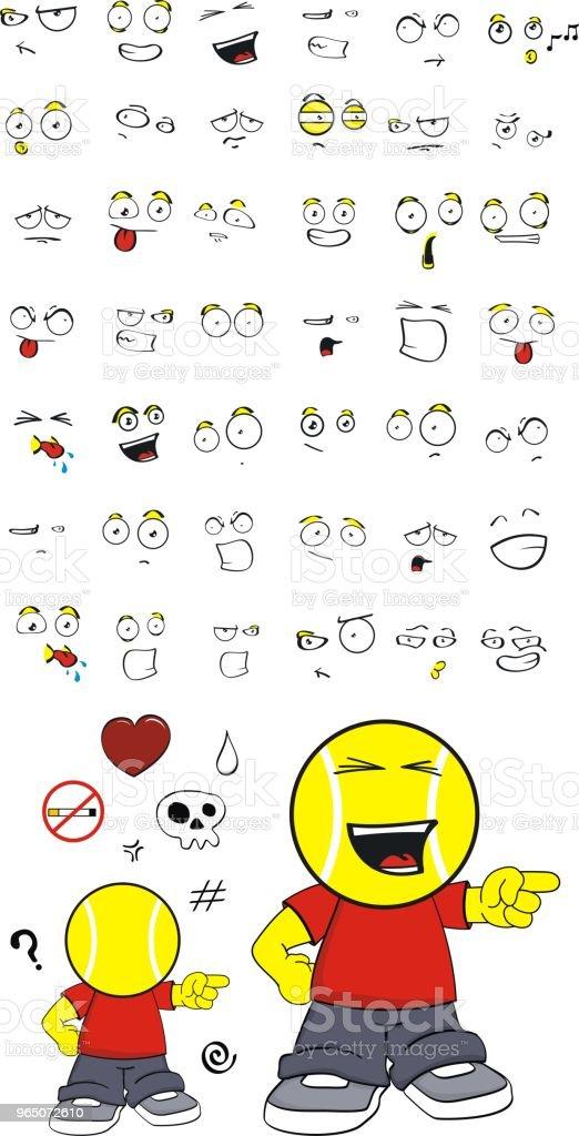 happy little tennis head kid expressions set happy little tennis head kid expressions set - stockowe grafiki wektorowe i więcej obrazów ameryka Łacińska royalty-free