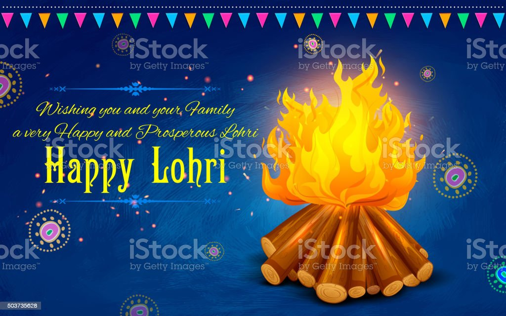 Happy Lohri background vector art illustration