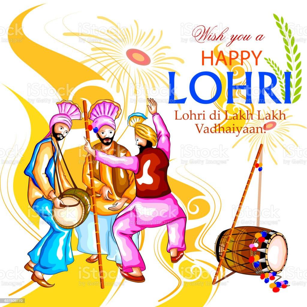 Happy Lohri Festival Of Punjab India Background Stock ...