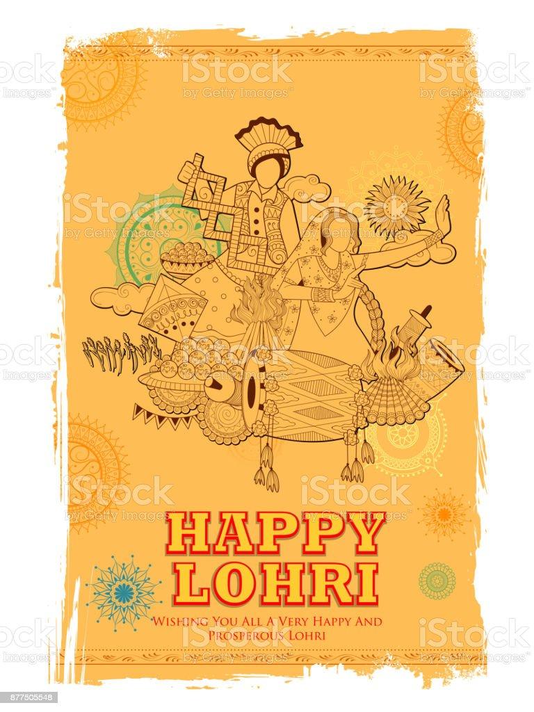 Happy Lohri Holiday Background For Punjabi Festival Stock Vector Art