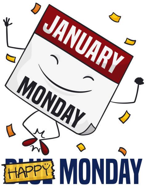stockillustraties, clipart, cartoons en iconen met gelukkig losbladige kalender met confetti verslaan de blauwe maandag - blue monday