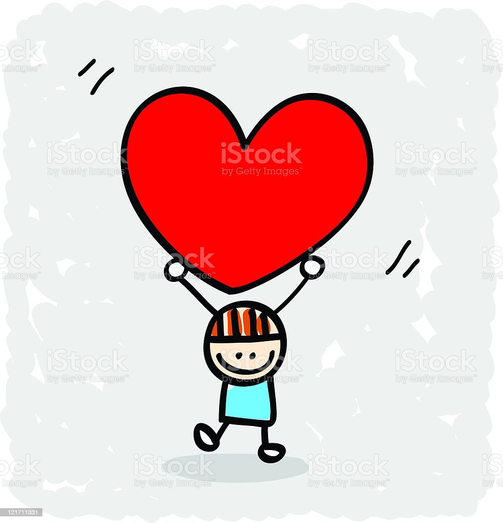 Heart stock illustration royalty free illustrations stock clip art - Happy Lover Boy With Heart Cartoon Illustration At Valentine S Day Royalty Free Stock Vector Art