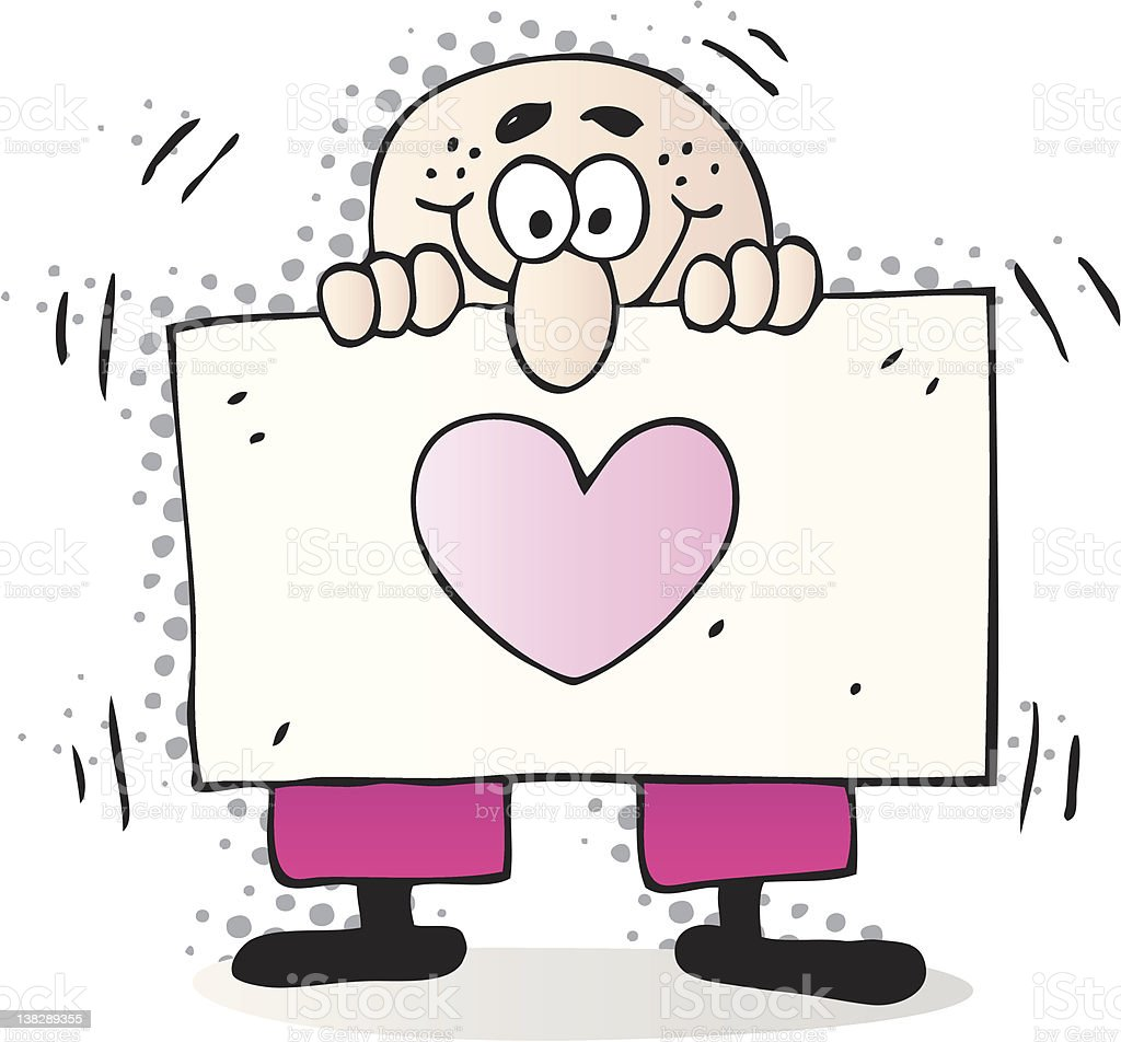 happy lover man with heart shape Banner cartoon royalty-free stock vector art