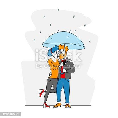 istock Happy Loving Couple Hugging Walking in Rainy Autumn Weather under Umbrella, People Speaking, Enjoying Relations, Love 1265105371