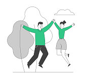 Happy Loving Couple Sparetime, Cheerful Man and Woman Characters Spend Time Together Rejoice and Jumping with Hands Up Outdoors. Love Relations, Togetherness Cartoon Flat Vector Illustration, Line Art