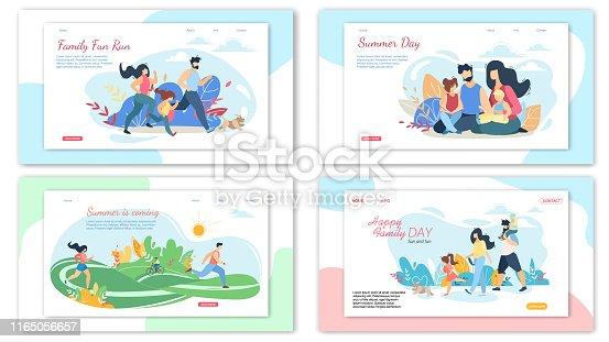 Happy Loving Family Summer Activities Banner Set