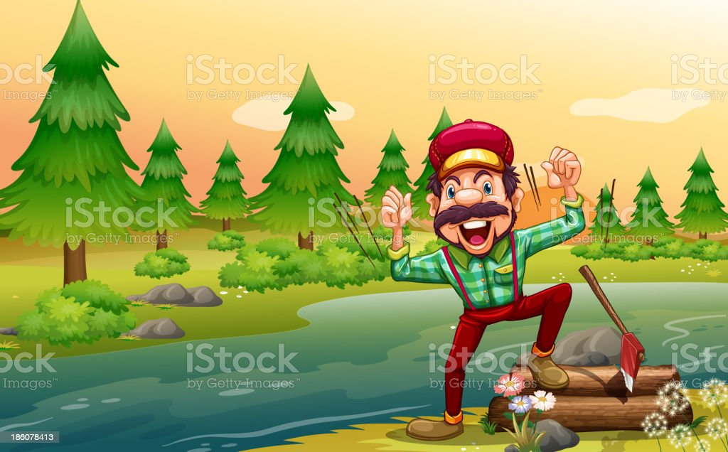 happy lumberjack at the riverbank royalty-free stock vector art