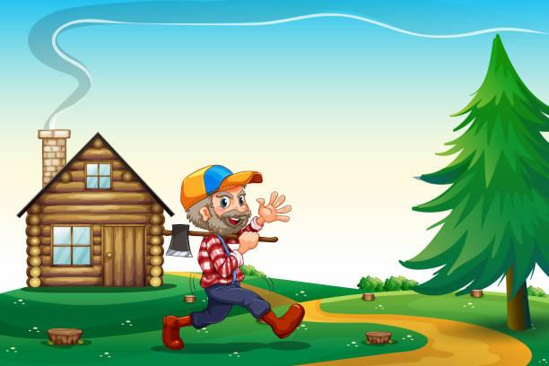 illustrations, cliparts, dessins animés et icônes de heureux bûcheron porter axe en marchant près de maison en bois - man axe wood