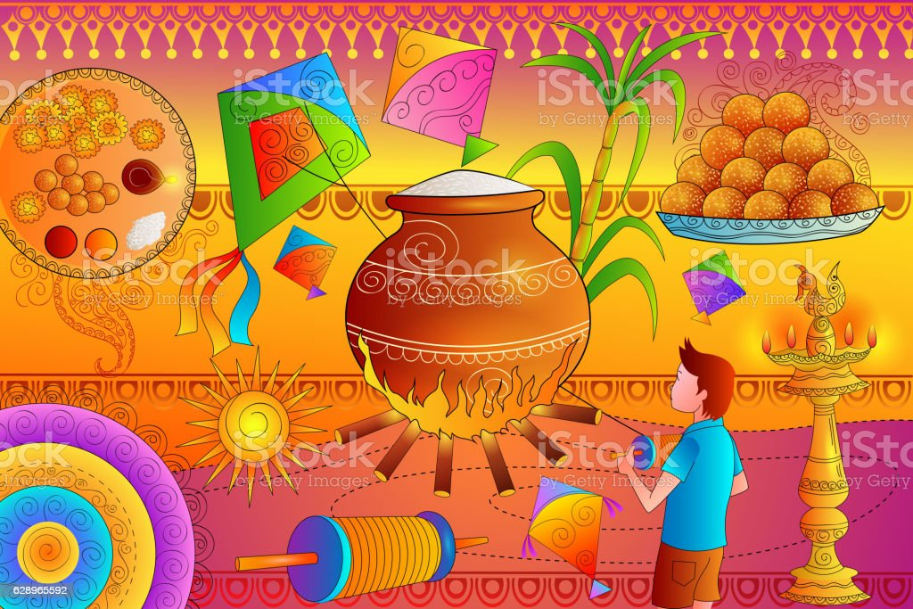 Happy Makar Sankranti Festival Celebration Background Stock Vektor
