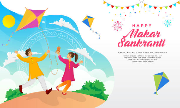 Happy Makar Sankranti greeting card design cartoon indian boy and girl playing kite in the field celebrating Makar Sankranti festival indian family stock illustrations