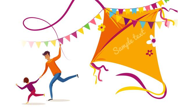 Happy Makar Sankranti holiday background, banner or poster. Happy Makar Sankranti holiday background, banner or poster. Happy family father and son flying kite and having fun. Vector illustration indian family stock illustrations
