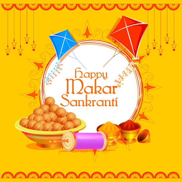 happy makar sankranti holiday india festival background - indian food stock illustrations, clip art, cartoons, & icons