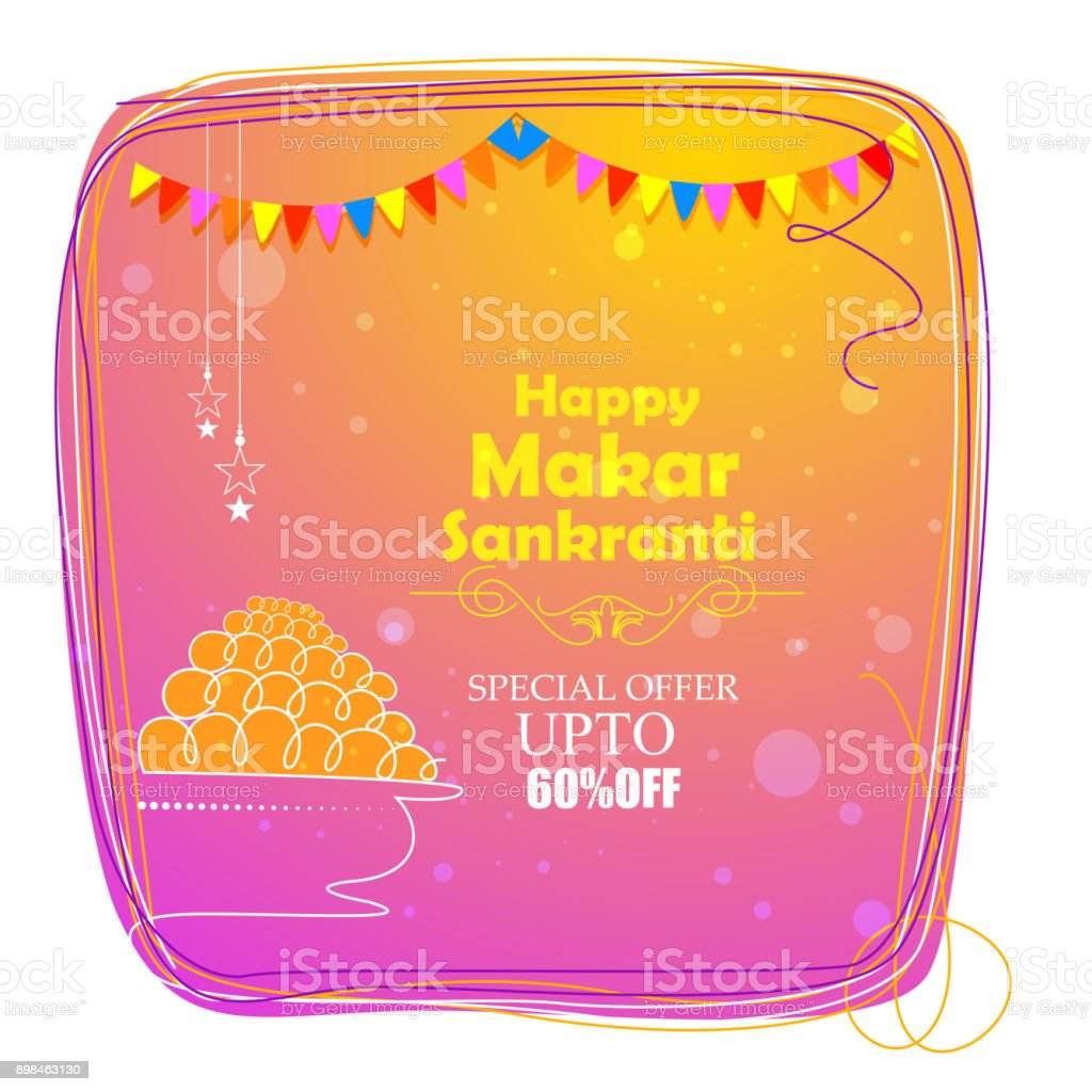 Happy Makar Sankranti holiday India festival sale and promotion background vector art illustration