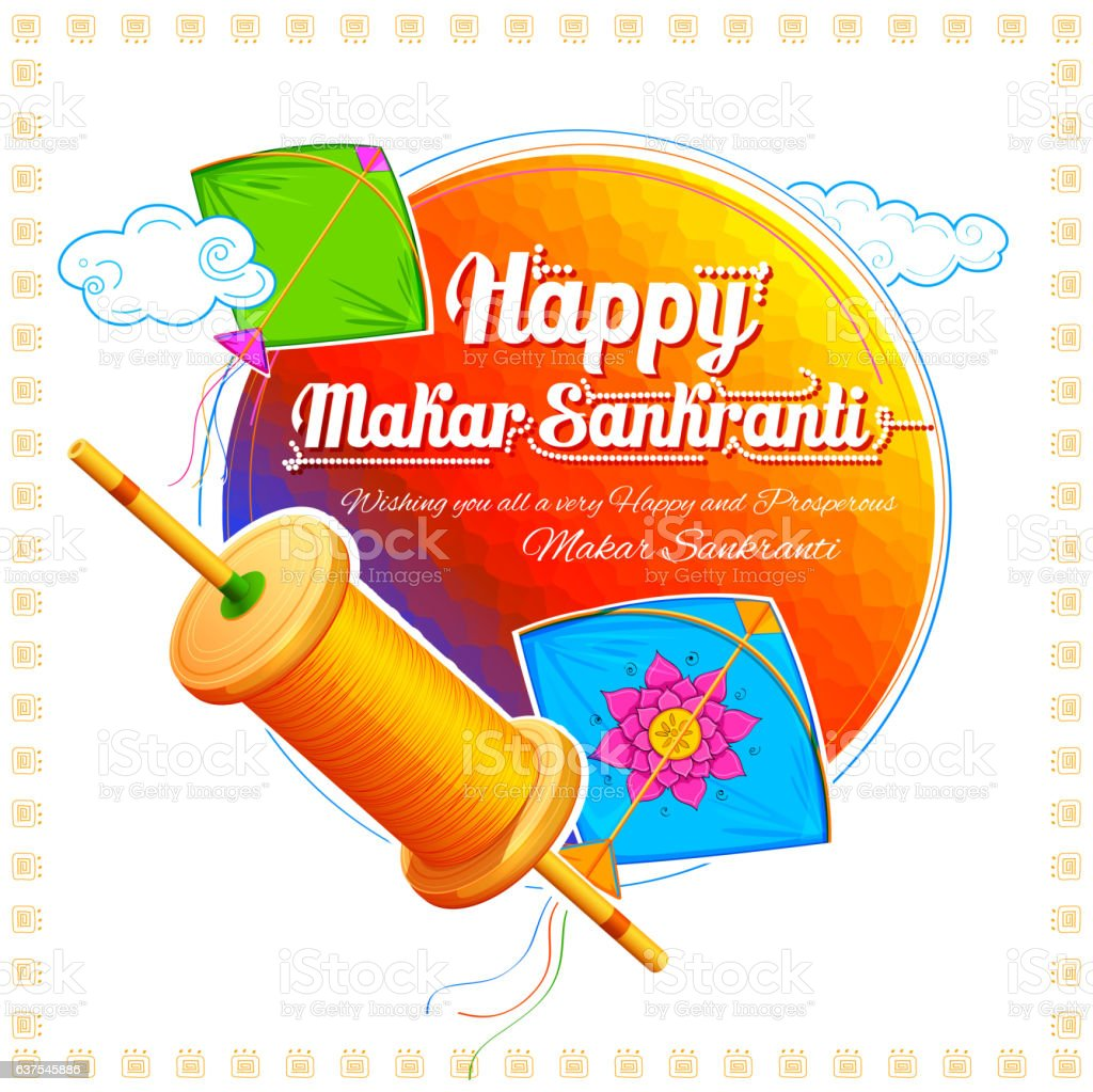 Happy Makar Sankranti wallpaper with colorful kite string for festival
