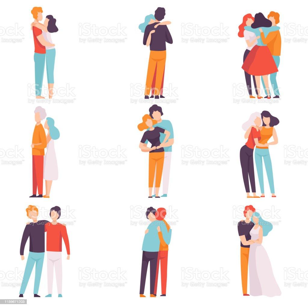 快樂的男性和女性擁抱對方集,人們慶祝活動,情侶在愛,最好的朋友向量插圖 - 免版稅一起圖庫向量圖形