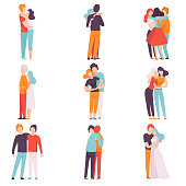 Happy Male and Female Embracing Each Other Set, People Celebrating Event, Couples in Love, Best Friends Vector Illustration on White Background.