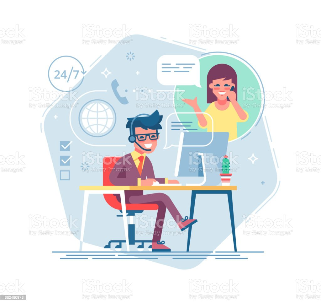 Happy male helpline operator with headset consulting a client. Online global tech support 24/7. Operator and customer. Technical support concept. Vector illustration in flat design. vector art illustration