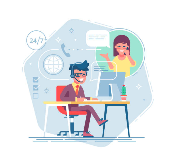 Happy male helpline operator with headset consulting a client. Online global tech support 24/7. Operator and customer. Technical support concept. Vector illustration in flat design. Happy male helpline operator with headset consulting a client. Online global tech support 24/7. Operator and customer. Technical support concept. Vector illustration in flat design. call centre illustrations stock illustrations